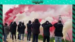 Alientan a HH y al Atlético de Madrid con bengalas y cánticos