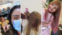 Aislinn Derbez cumple el sueño de su hija Kailani y la deja teñirse su cabello de rosa