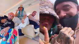 Karol G, J Balvin y Nicky Jam viajan juntos y no pararon de cantar en todo el viaje