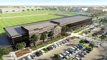 Esta es una vista aérea del nuevo complejo del Inter Miami en Fort Lauderdale, Florida.