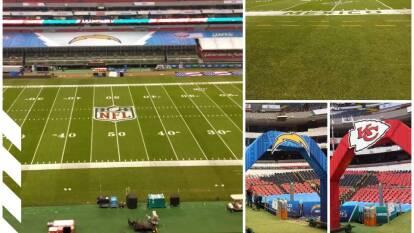 ¡Como si fuera una alfombra! La cancha del Estadio Azteca está en perfectas condiciones para el encuentro de NFL.