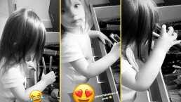 """""""Estoy planchándome el pelito"""": Kailani se arregla como niña grande y Aislinn Derbez lo presume"""