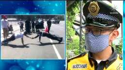 El contundente mensaje del policía discapacitado que se hizo viral al ganar un reto puesto por manifestantes