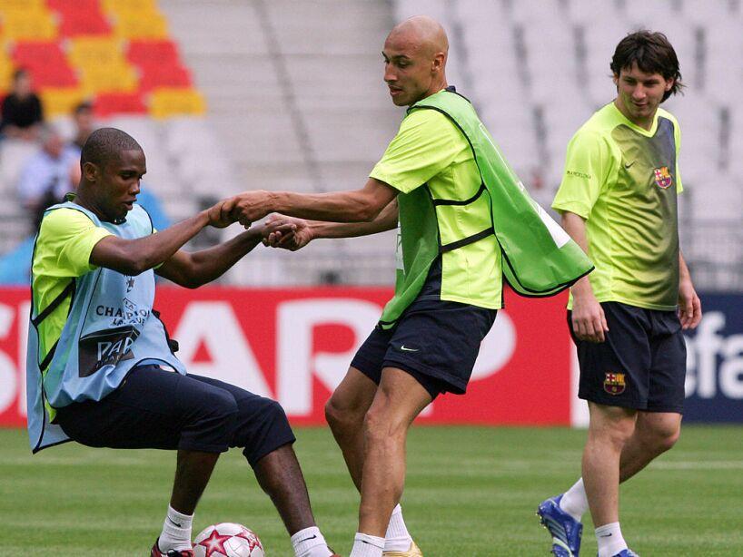 Barcelona players Cameroonian Samuel Eto