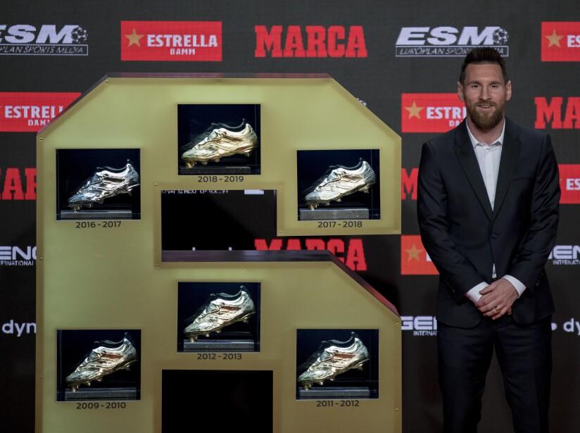 APTOPIX Spain Messi Golden Boot