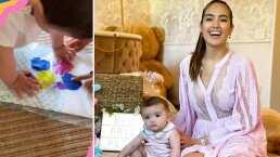 La bebé de Sharon Fonseca comienza con estimulación temprana: ya juega con pinturitas