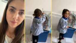 Video- Michelle Renaud presume el talento de su hijo al pintar