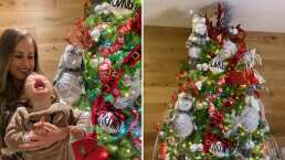 Ingrid Martz posa junto a su hija Martina y su enorme árbol de Navidad