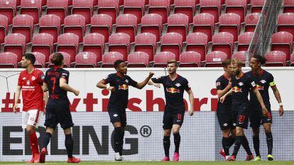 hat-trick de Timo Werner en la paliza del Leipzig 0-5 al Mainz a domicilio en la jornada 27 del futbol alemán.