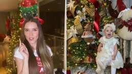 Marlene Favela se cuelga hasta el árbol de navidad y su hija es la más feliz con toda la decoración