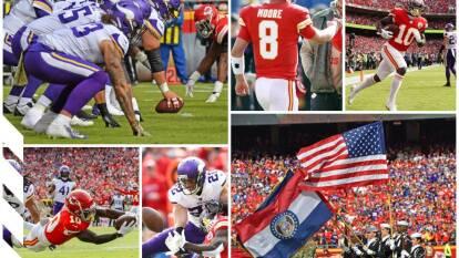 Minnesota Vikings 23-26 Kansas City Chiefs. Los visitantes pierden, por lesión, a su receptor Adam Thielen.