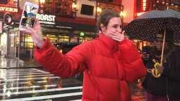 Macarena Achaga recibe sorpresa de sus fans en Nueva York