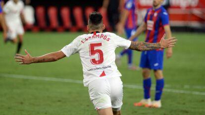 Con gol de Lucas Ocampos, el Sevilla logra quedarse con los tres puntos en casa frente al Eibar.