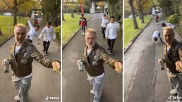 Gianluca Vacchi imita a el cholo en patineta, pero ocurre un pequeño accidente