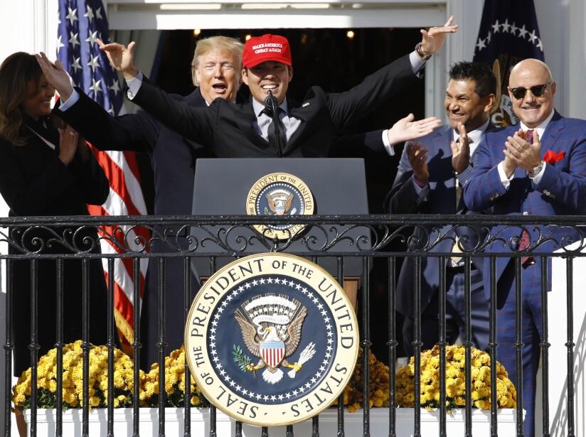Donald Trump, Kurt Suzuki, Dave Martinez, Mike Rizzo, Melania Trump