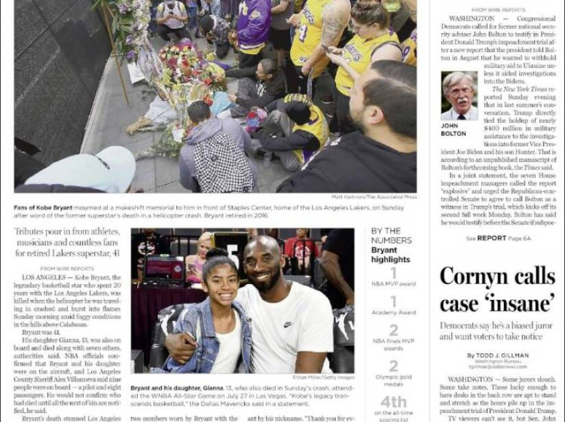 Kobe Bryant, periódico, THE DALLAS MORNING NEWS.jpg
