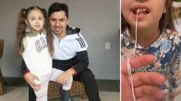 De un jalón y con un hilo: La eficiente manera de Larry Hernández para arrancarle el diente a su hija