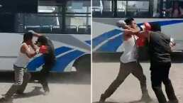 Al estilo 'Club de pelea', estos microbuseros se armaron sus propias peleas clandestinas de box