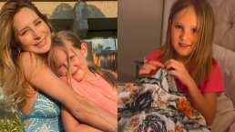Geraldine Bazán muestra lo orgullosa que está pues su hija menor ya sabe coser