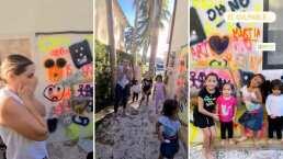 Jacky Bracamontes no sabe si llorar o reír, sus hijas la sorprenden al 'grafitearle' una pared de su casa