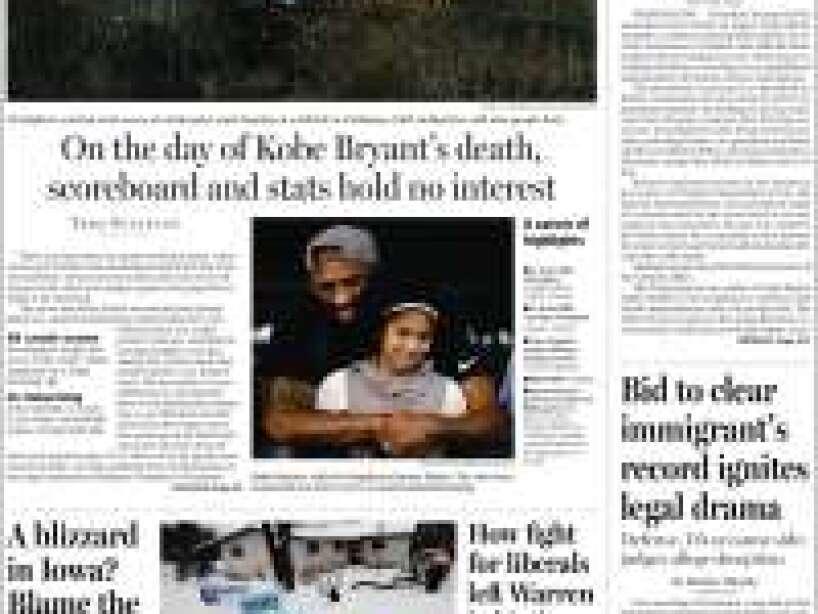 Kobe Bryant, periódico, TE BOSTON GLOBE.jpg