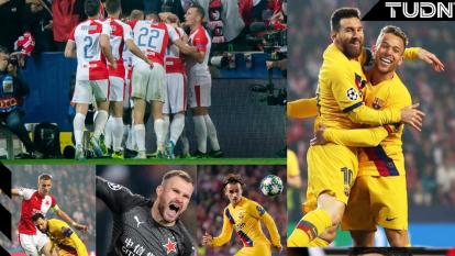 Bořil anota el primer gol para el Slavia Praga, pero los goles de Messi y Olayinka (autogol), dan la victoria para el Barcelona 2-1.