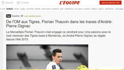 """""""De OM a Tigres, Florian Thauvin sigue los pasos de André-Pierre Gignac"""""""