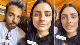 Aislinn muestra cómo se ve Eugenio Derbez con ojos verdes y ¿arrugas? (VIDEO)