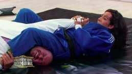 Flojito y cooperando, 'El Norteño' voló por los aires en sus clases de judo