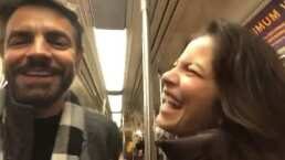 Eugenio Derbez reta a Alessandra Rosaldo a cantar en el metro