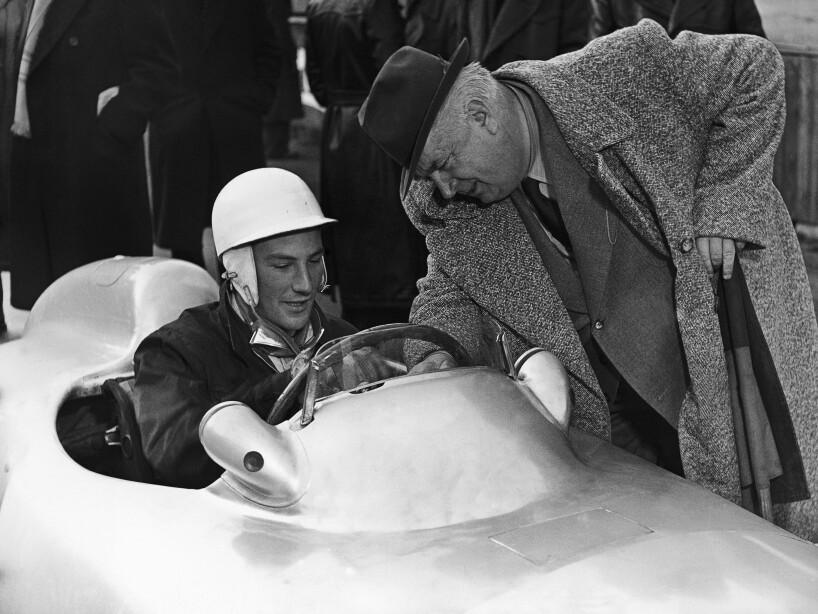 Germany Hockenheim Alfred Neubauer and Stirling Moss