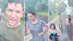 Video: Esposo de Jacky Bracamontes convence a la actriz a hacer ejercicio bajo la lluvia