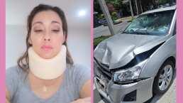 Sugey Ábrego se impacta con un automóvil y asegura que el cinturón de seguridad le salvó la vida