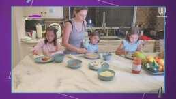 Desde casa, Jacky Bracamontes muestra cómo se divirtió preparando pizza con sus hijas