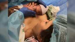 Con un emotivo video, Hanna presenta a su bebé a pocos minutos de nacida en la sala de parto