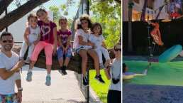 Jacky Bracamontes convierte su alberca en un 'circo acuático' para su familia