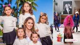 Hijas de Jacky Bracamontes le preparan show al estilo de Disney: con pelucas y vestidos