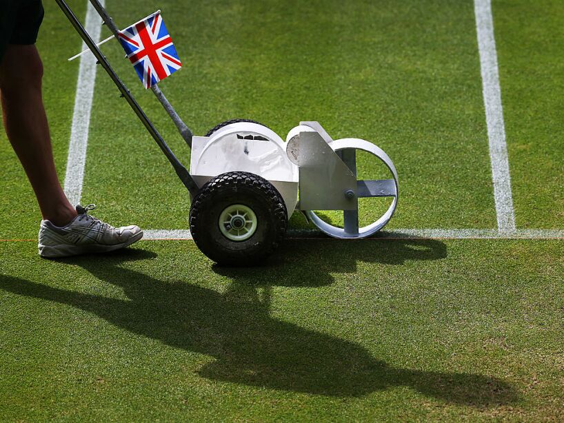 Early Morning Preparation Of Centre Court - Wimbledon Tennis Championship