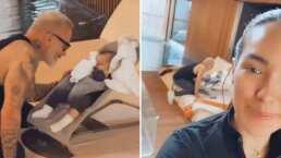 Sharon Fonseca se conmueve al ver a Gianluca Vacchi ayudarle a dormir a su bebita mientras ella se ejercita