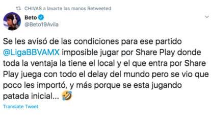 El coach de las eChivas acusó un delay que habría perjudicado a Fernando 'el Nene' Beltrán durante el encuentro contra el América al jugarse la eLiguilla en el modo patada inicial compartido por share play, en lugar del modo online como se jugó el torneo.
