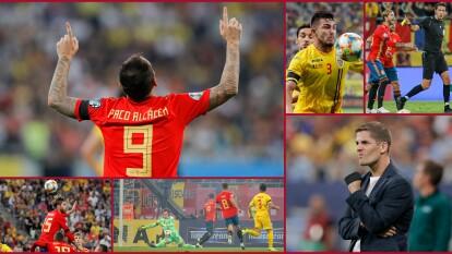 España vence a Rumania con goles de Sergio Ramos y Paco Alcácer;Andone descontó por los locales.