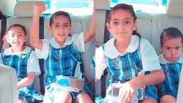 Jacky Bracamontes muestra cómo se divierten sus hijas camino a la escuela