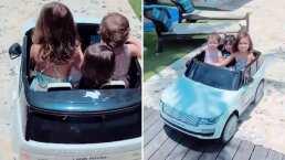 ¡Reni, Pau y Emi al volante! Las hijas de Jacky Bracamontes manejan con ternura un mini coche