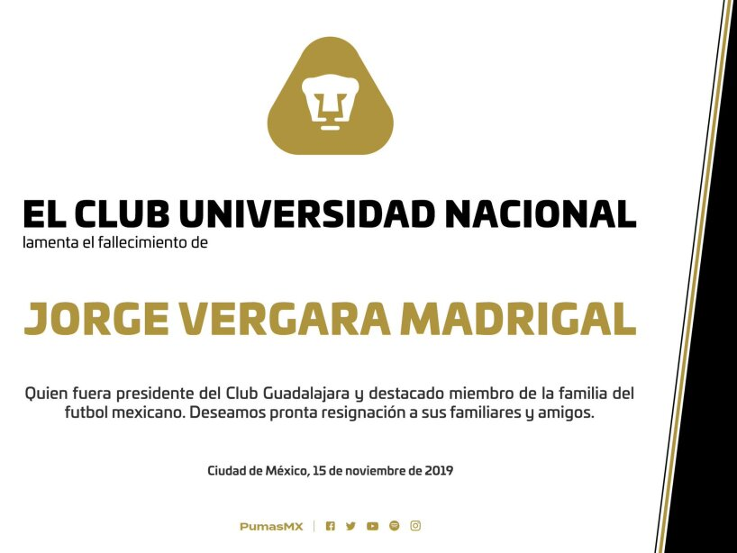 Clubes y jugadores lamentan profundamente el sensible fallecimiento de Jorge Vergara Madrigal.