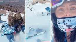 Aislinn Derbez se estrelló con una persona mientras esquiaba y Vadhir grabó el aparatoso momento
