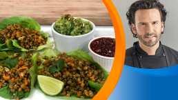 Receta: Tacos de lechuga con germinado de lentejas
