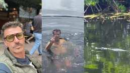 Leonardo García impacta en redes al aparecer nadando con un cocodrilo