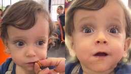 Niño prueba su primer taco al pastor y su reacción vale una orden con piña
