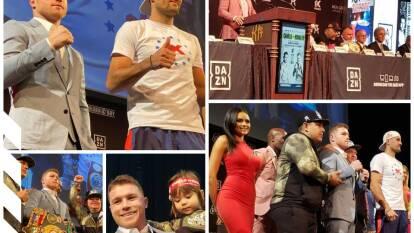 Saúl 'Canelo' Álvarez y Sergey Kovalev en Conferencia de Prensa previo al combate del sábado en el MGM Grand.