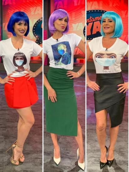 Este jueves 25 de junio, las conductoras de Cuéntamelo ya! aparecieron en su programa con vistosas pelucas.